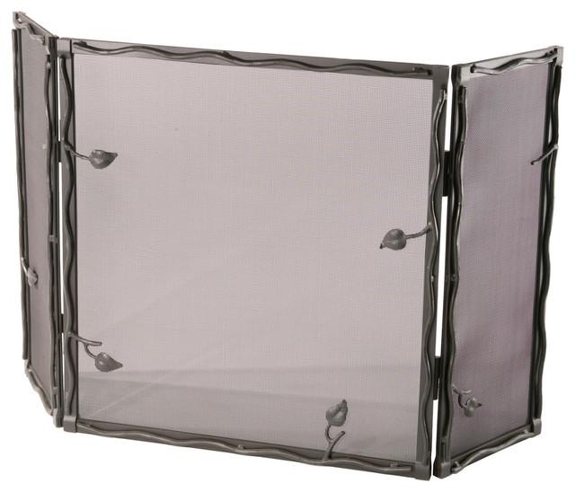 Stone county 900 373 sassafras black fireplace screen rustic fireplace screens by littman - Houzz fireplace screens ...