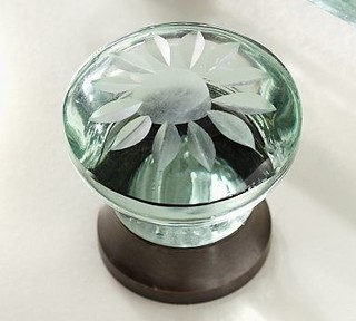 Andrick Etched Recycled Glass Knob - Traditional - Cabinet And Drawer Knobs - by Pottery Barn