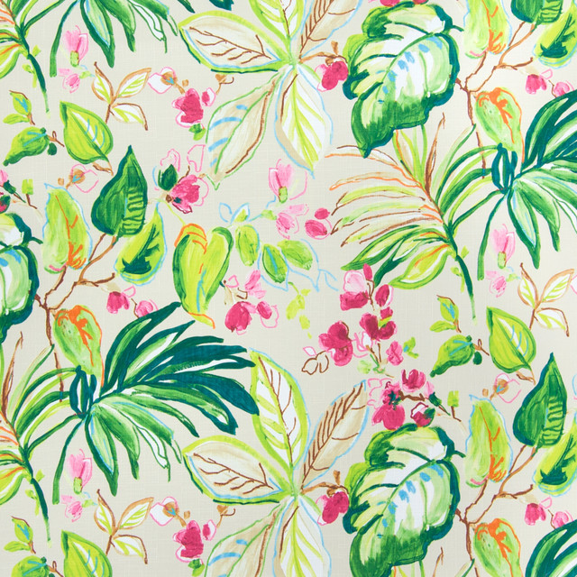 Palm green contemporary foliage tropical print upholstery for Modern home decor fabric prints