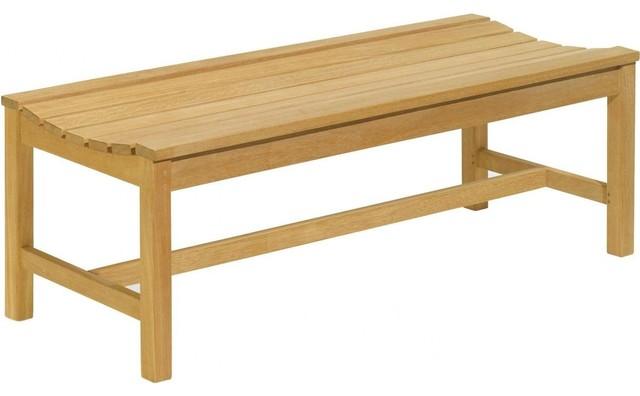 Oxford Garden Wood 2 Person Patio Backless Bench Modern Garden Benches