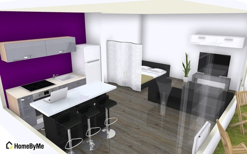 Am nagement d 39 un studio de 35m Amenagement salon cuisine ouverte 35m2