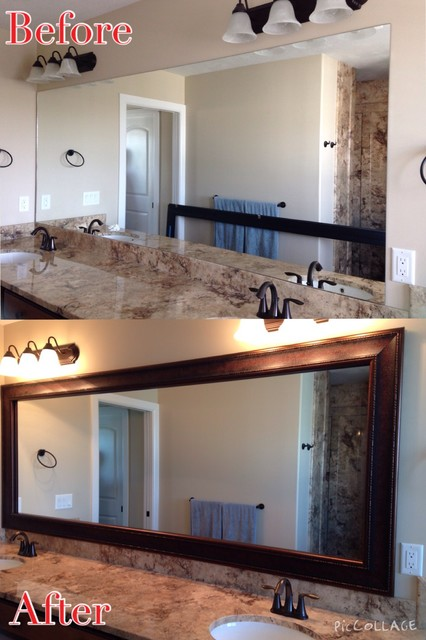 frames for existing mirrors transitional bathroom