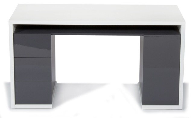 Moneta grand bureau 3 tiroirs et 1 porte contemporain for Meuble bureau contemporain