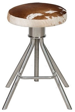 Cowhide Adjustable Stool Contemporary Bar Stools And