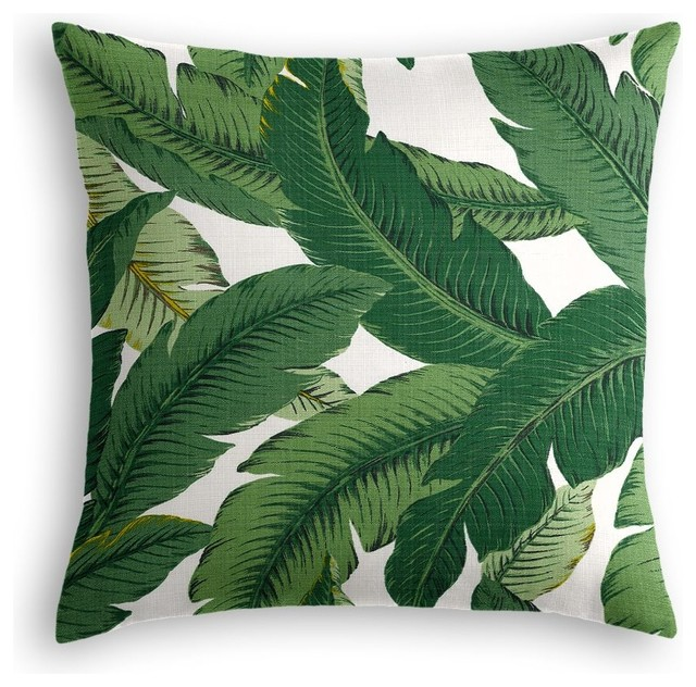 Modern Living Oxidized Leaf Decorative Pillow : Green Banana Leaf Throw Pillow - Contemporary - Decorative Pillows - by Loom Decor