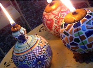 Mexican Clay Pottery Oil Lamp Tiki Torch Light