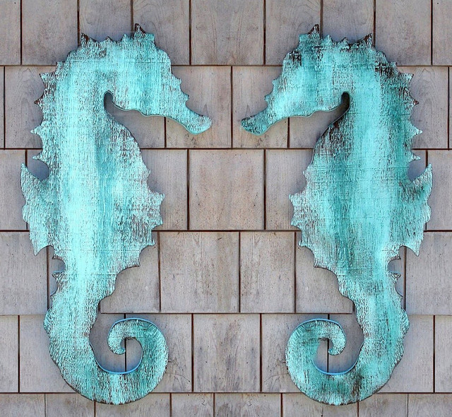 Wooden Seahorse Wall Plaque Eclectic Artwork New York By Suzanne Nicoll Studio