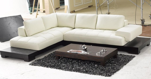 Modern top grain leather section sofa modern modular for Modern furniture los angeles