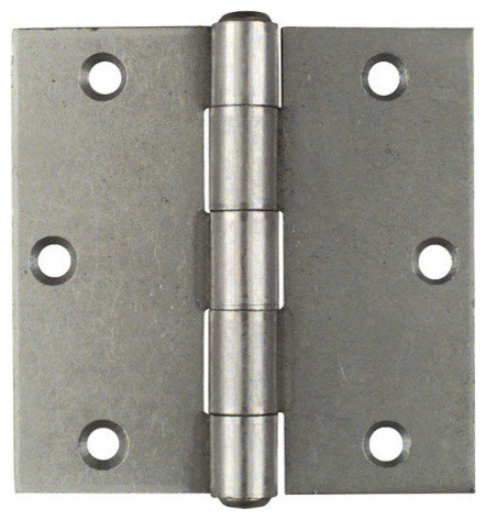 """3-1/2"""" Plain Steel Non-Removable Pin Broad Hinge - Modern - Hinges - by Greschlers Hardware"""