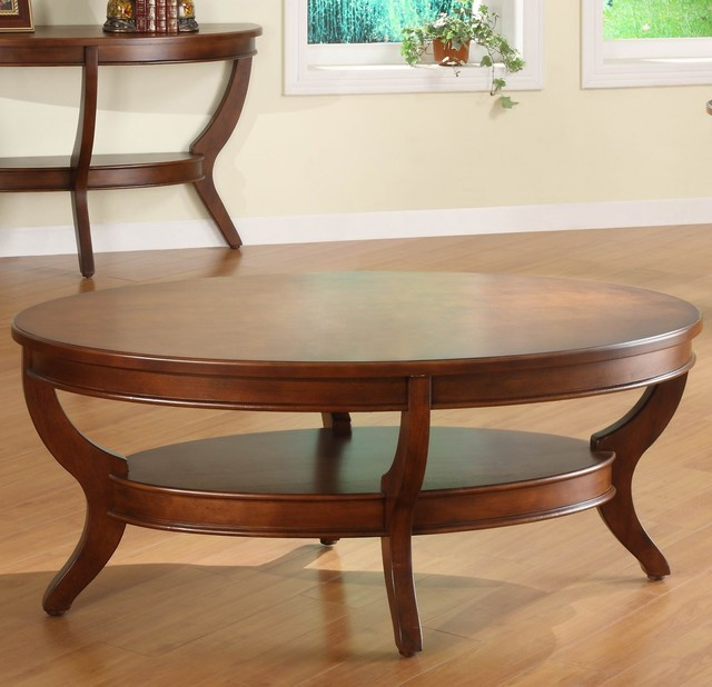 Houzz Black Coffee Table: Homelegance Avalon Oval Cocktail Table In Cherry
