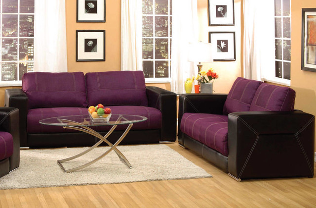 Brayden purple black brown linen pu living room set living Purple brown living room