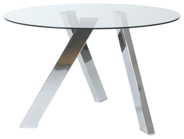 """Round Glass Dining Table 48 Inches: Fridrika 48"""" Round Glass Dining Table Modern-dining-tables"""