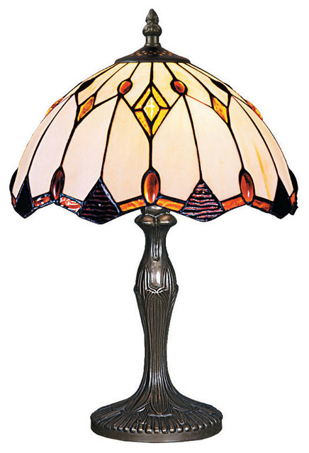 Tiffany Style Jeweled Geometric Table Lamp With
