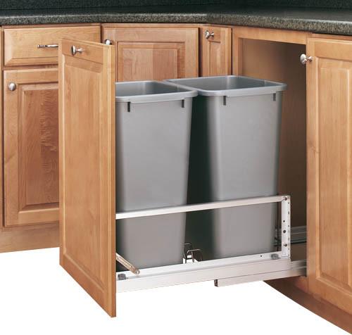 Rev-A-Shelf 5349-2150DM-217 Double 50 Qt. Soft Close Pullout Waste Bin - Silver - Contemporary ...