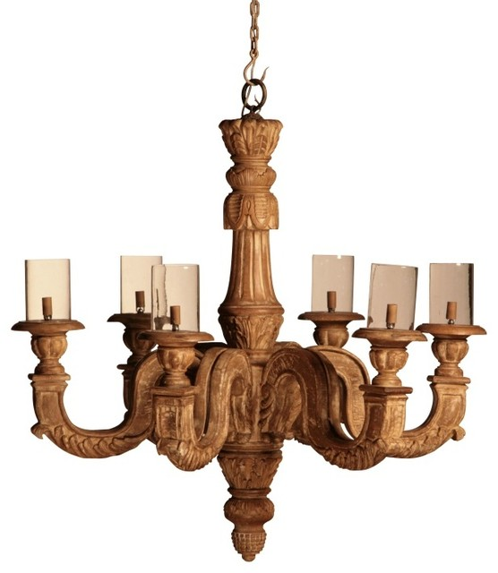 Hand Carved Wood 6 Bulb Chandelier Eclectic