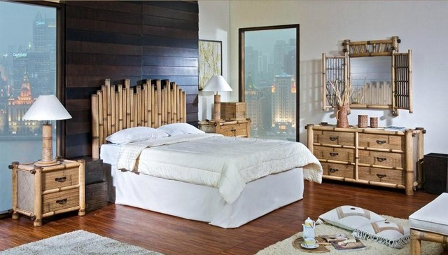 bamboo 4 pc queen bedroom set in natur tropical bedroom furniture sets