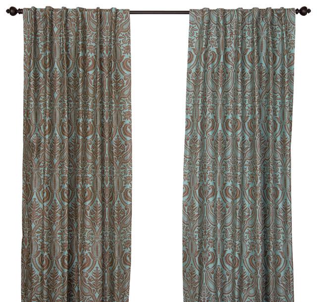 Silk all over print steel blue curtain panel 84 quot klassisch gardinen