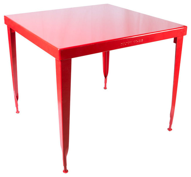 Standard square table red industrial dining tables for Square industrial dining table