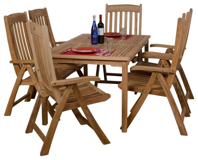 Zurich 7 piece teak rectangular patio dining set for Outdoor furniture zurich