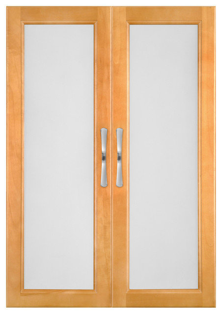 Solid Wood Closets Doors With Frosted Glass, Tempered Glass, Maple Spice Finish - Contemporary ...