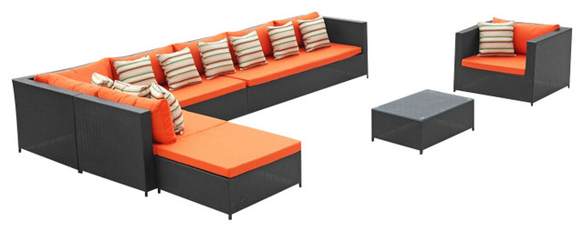 Garden Outdoor Sectional Set With Orange Cushions Modern