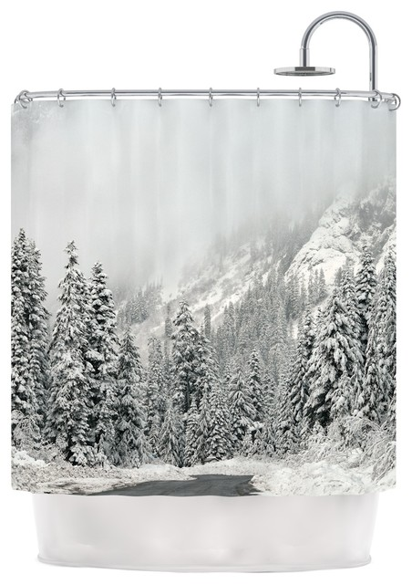 Robin Dickinson Winter Wonderland White Gray Shower Curtain Contemporary Shower Curtains