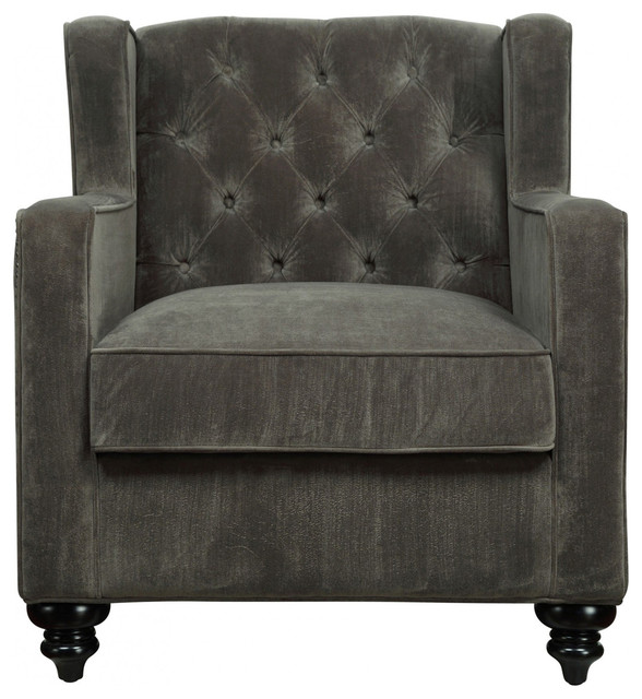 TOV Furniture Sydney Pewter Velvet Chair TOV C63 Contemporary Armchairs A