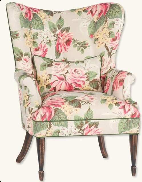 Enchanted Cottage Floral Wingback Chair Victorian Armchairs Accent Chairs Kansas City
