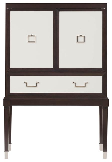 Sadie Hollywood Regency Espresso White Bar Cabinet - Transitional - Storage Cabinets - by Kathy ...