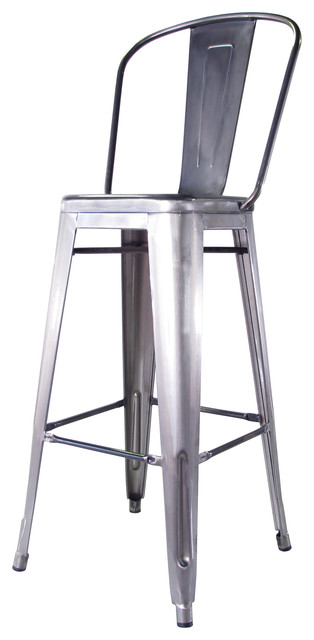 Bouchon French Industrial Steel With Back Cafe Barstool