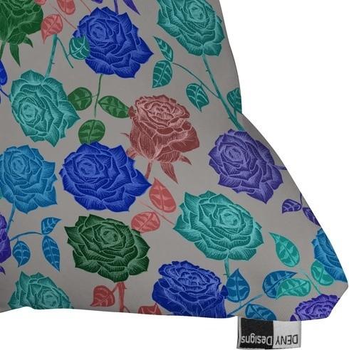 Bianca Green Polyester Roses Indoor/Outdoor Throw Pillow - Modern - Garden Cushions