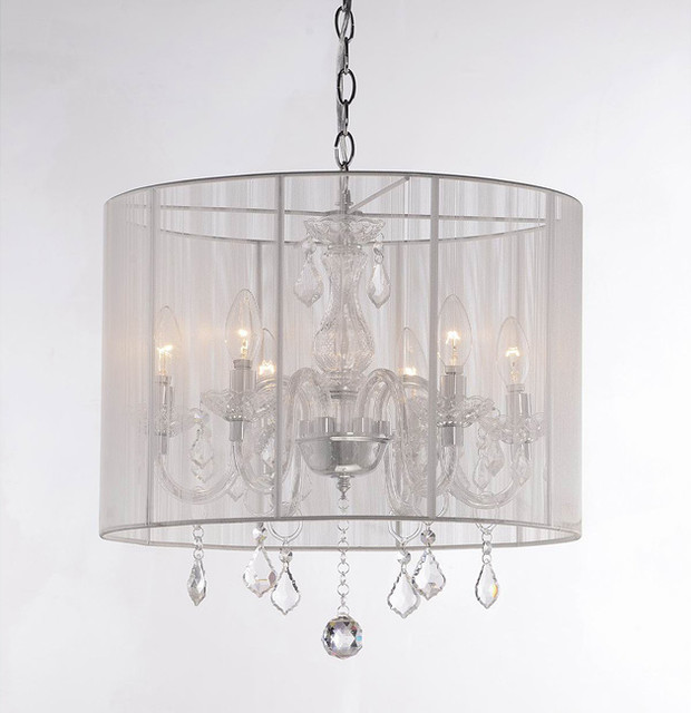 Yvette Crystal Chandelier: Emma White Shade And Iron Base Crystal Chandelier