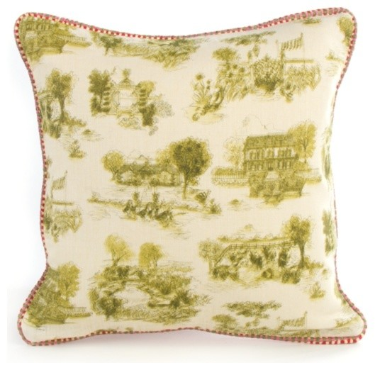 Small Square Decorative Pillows : Aurora Toile Small Square Pillow - Green MacKenzie-Childs - Eclectic - Decorative Pillows ...