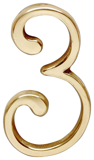 3 pin mount house number bright brass 3 h for Bright houses number