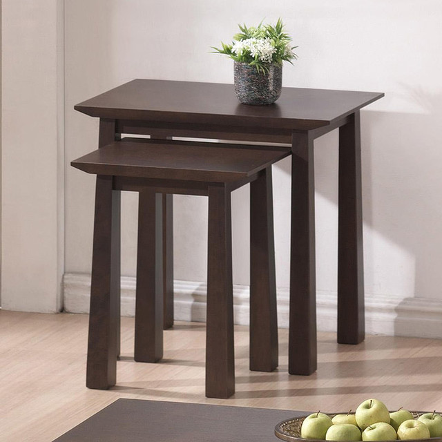 Havana brown wood modern nesting table set contemporary for Modern nesting coffee tables