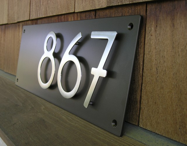 Custom modern address plaque with 5 bungalow house for Bungalow house numbers
