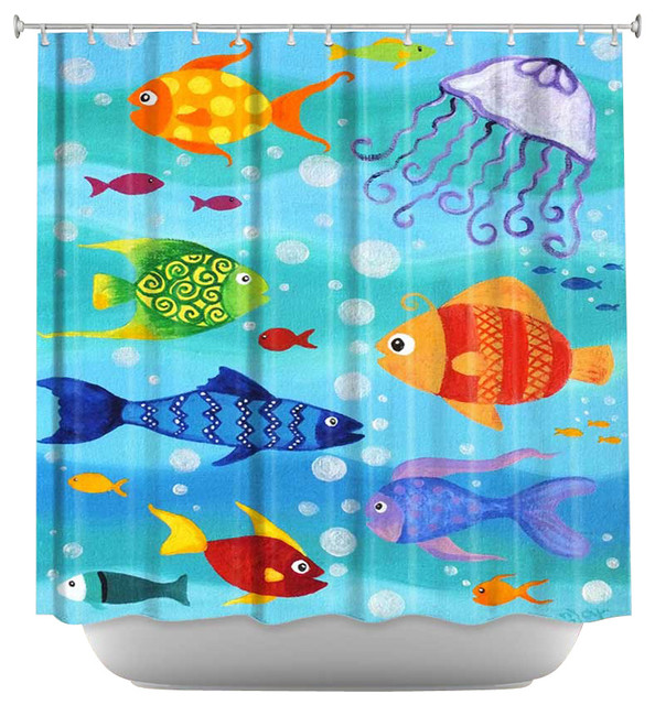 Shower Curtain Unique From Dianoche Designs Happy Fish Contemporary Shower Curtains By