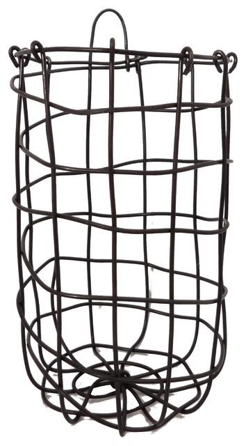 Handmade Hanging Fruit Basket : Handmade woven wire wall hanging basket eclectic fruit