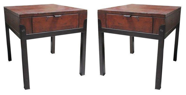 Wood and metal turning house side tables pair 700 est for Wood and metal bedside table
