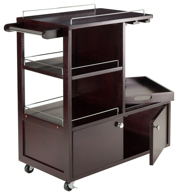 Winsome Wood 92534 Mali Kitchen Cart: Winsome Wood Galen Entertainment Cart With Espresso Finish
