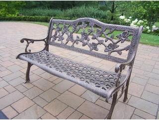 Oakland Living English Tea Rose Cast Aluminum Patio Bench Antique Bronze