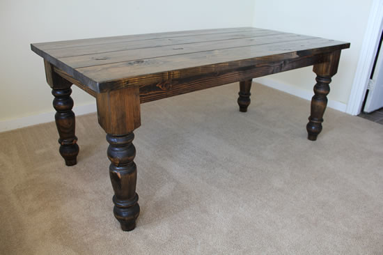 72 Baluster Turned Leg Dining Table Rustic Dining