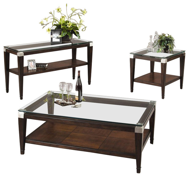 3 pc floating glass top table set in walnut f Glass modern coffee table sets
