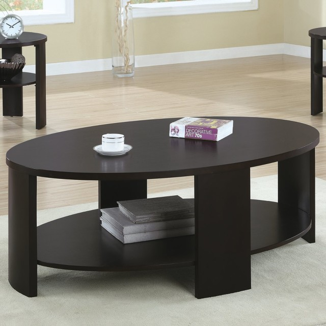 Contemporary Oval Cocktail Table In Cherry Modern Coffee Tables