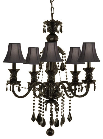 Jet Black Chandelier Crystal With Black Shades