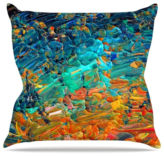 Modern Teal Decorative Throw Pillow : Ebi Emporium
