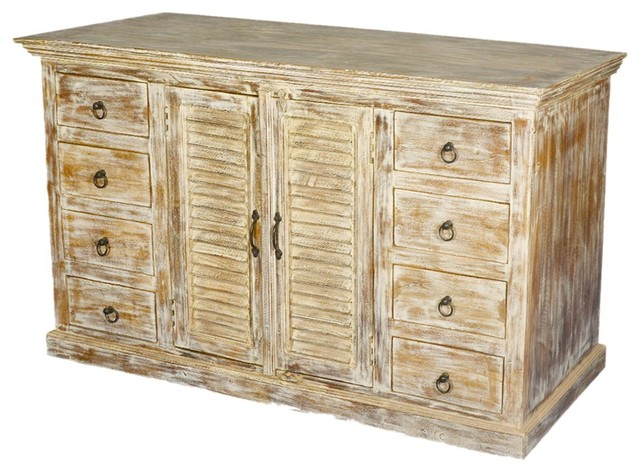 Distressed Wood Buffet ~ Rustic distressed wood drawer sideboard storage cabinet