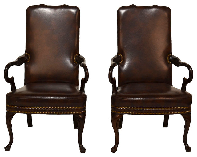 Queen anne style armchairs pair contemporary dining for Modern queen anne furniture