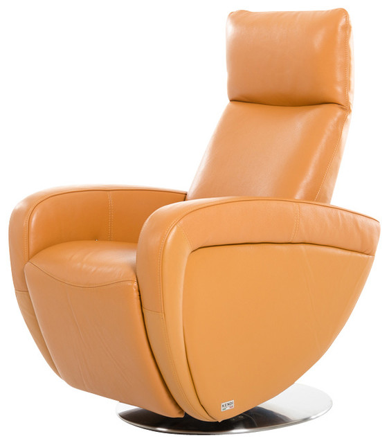 Divani Casa Maple Modern Orange Italian Leather Reclining Chair Contemporary Recliner Chairs