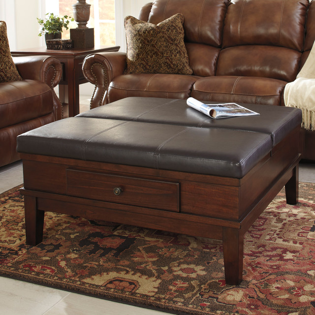 Signature Designs By Ashley Gately Medium Brown Ottoman Cocktail Table Contemporary Coffee
